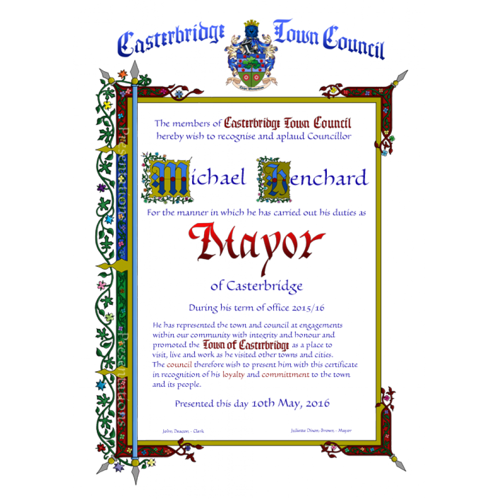 Recognition certificate mayors recognition certificate yadclub Image collections