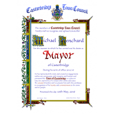 Mayors Term of Office Recognition Certificate -