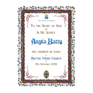 Church of Scotland - Elder Award Certificate