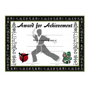 Martial Arts Grading Award Certificate