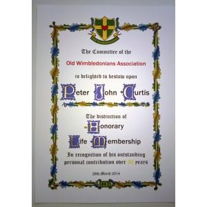 Old Wimbledonians Life Membership Photograpg