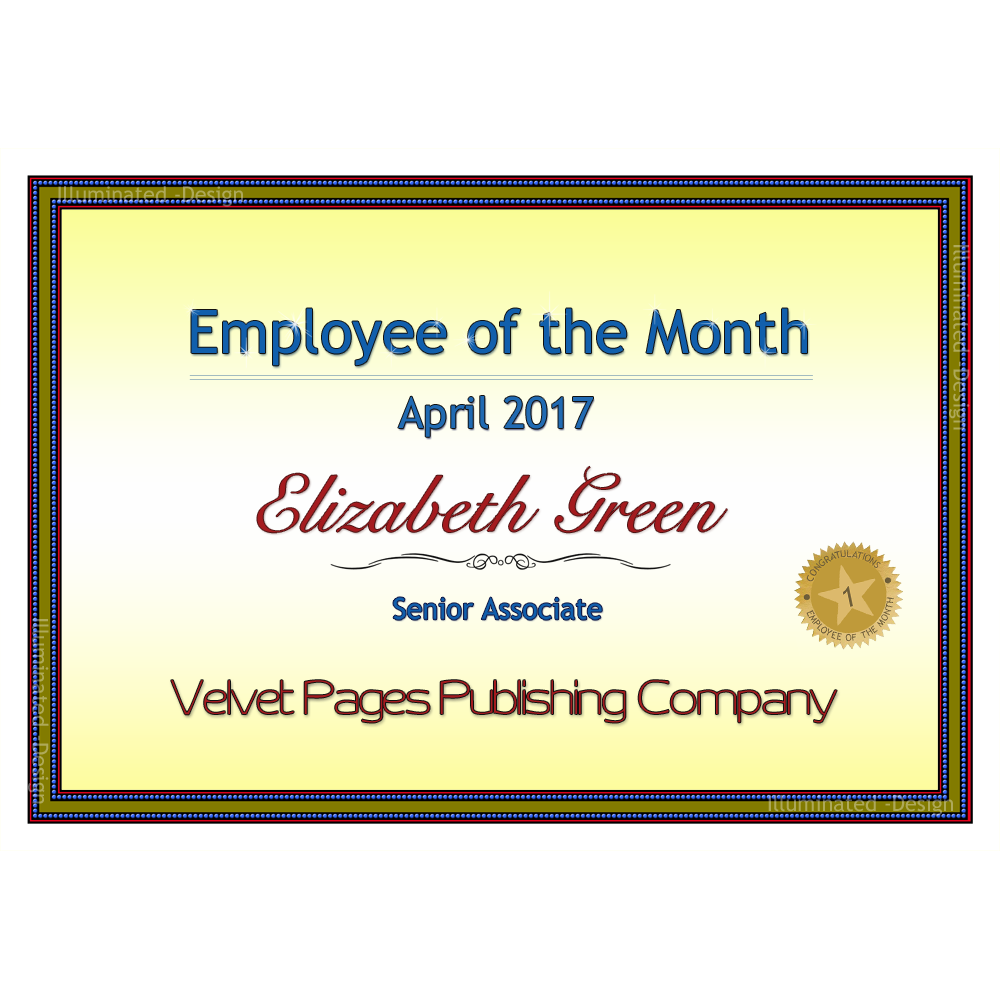 Velvet pages publishing employee of the monthsmall 1000x1000g employee of the month award certificate yadclub Gallery