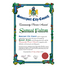 Community Service Award and Recognition Certificate