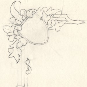 Design - Drawing of corner element for the certificate border