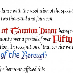 Detail - Example of how changing fonts and colours add intertest and highlight parts of the text.