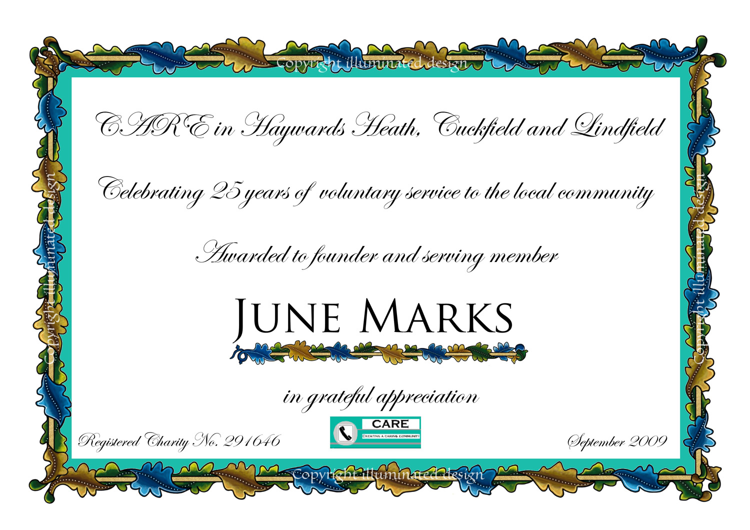 Care long service award certificate yelopaper Image collections